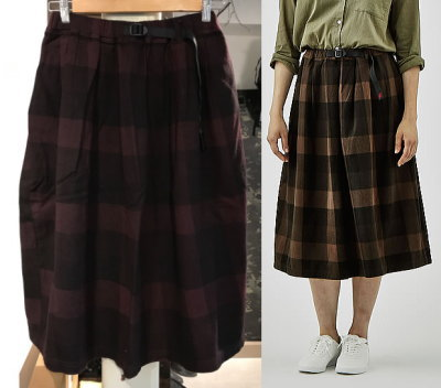 GRAMICCI NEL CHECK LONG FLARE SKIRT