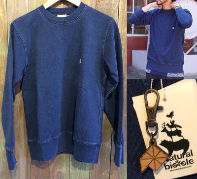 Natural bicycle EZONOHA indigo sweat crew